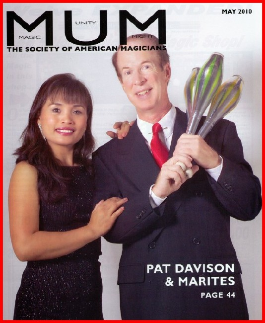 Featured on the May 2010 cover of the magazine of The Society of American Magicians!
